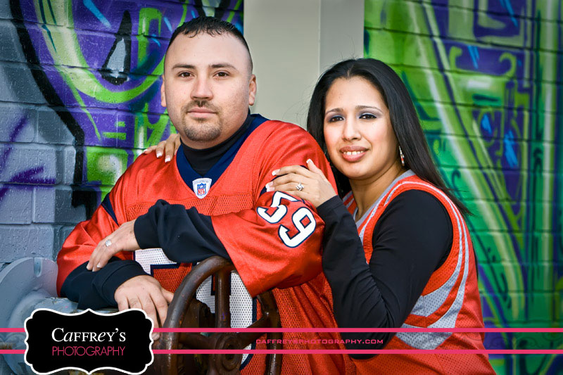 Engagement photos at edgy graffiti wall in Houston