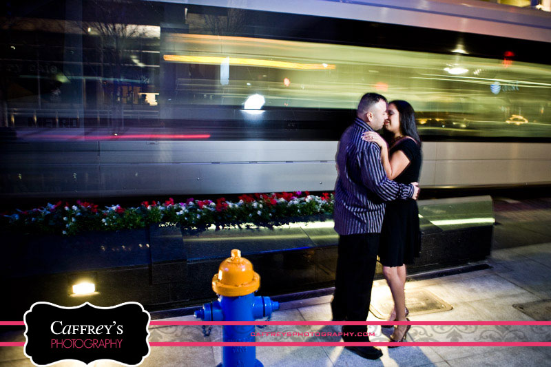 Engagement photos with the Metro Train in Houston