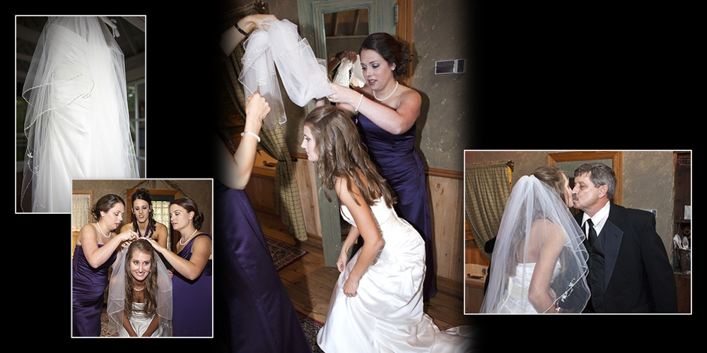 Brides getting her veil on