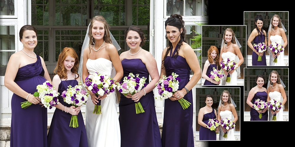 Bride and her bridesmaids pictued in her wedding album