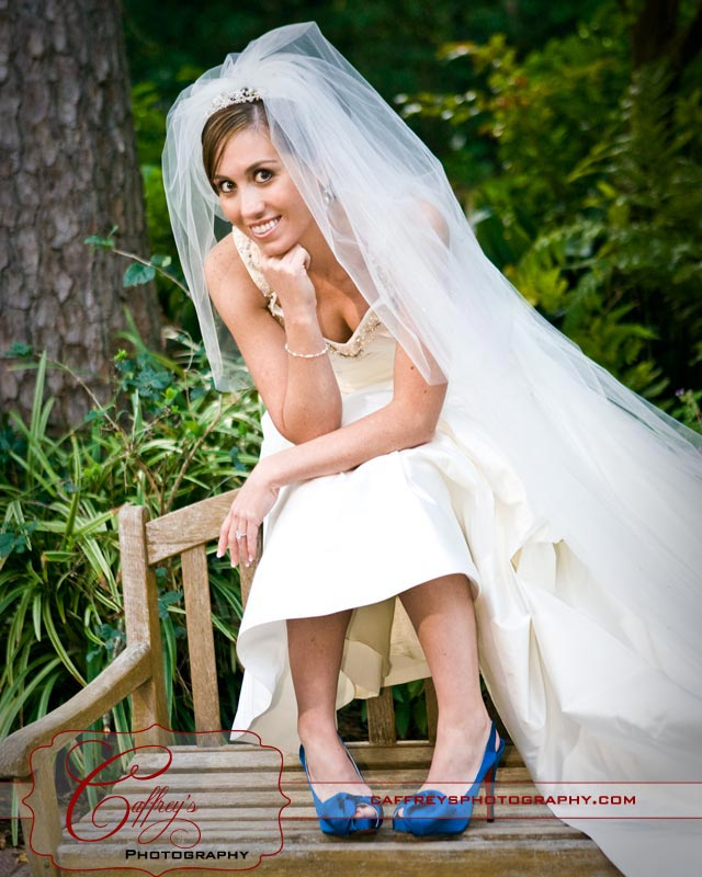 Beautiful bride with blue shoes