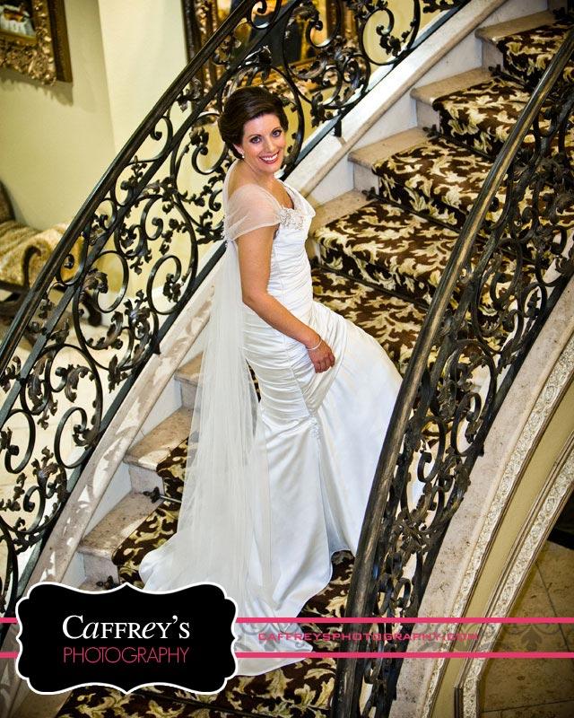Grogeous bride on Elegant Staircase.