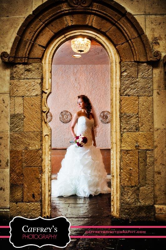 Bride under the arch at Las Velas
