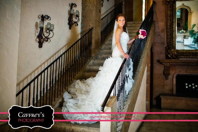 Breathtaking bride on the staircase at Las Velas Houston