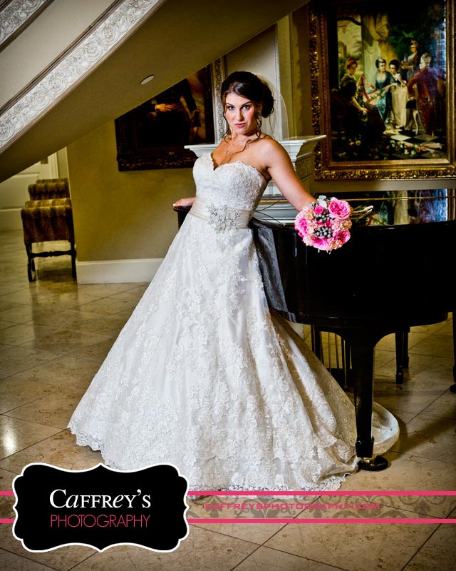 Gorgeous Bride beside grand piano in Houston