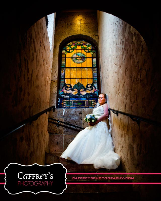 Unique Bridal Portraits with stained glass in Houston