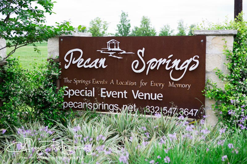 Pecan Springs Events Wedding Entrance Sign