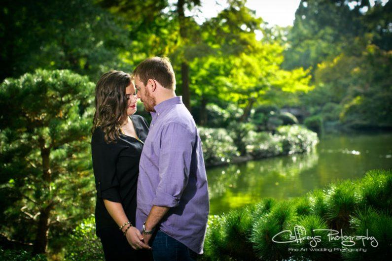 Romantio Japanese Gardens Engagement Photos