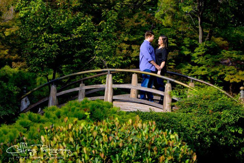 Ft Worth Japanese Gardens engagement portraits arched Bridge